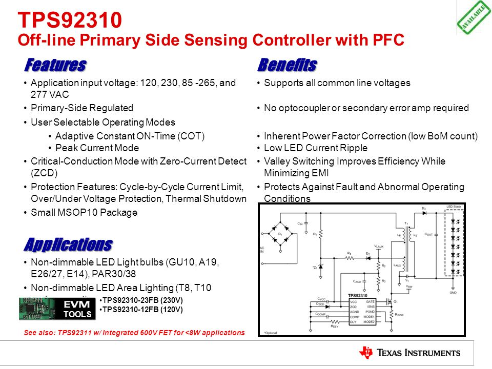 TPS92310 Off-line Primary Side Sensing Controller with PFC
