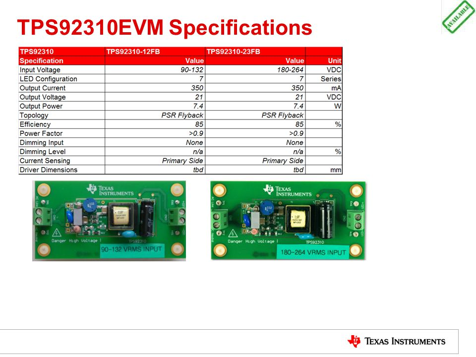 TPS92310EVM Specifications