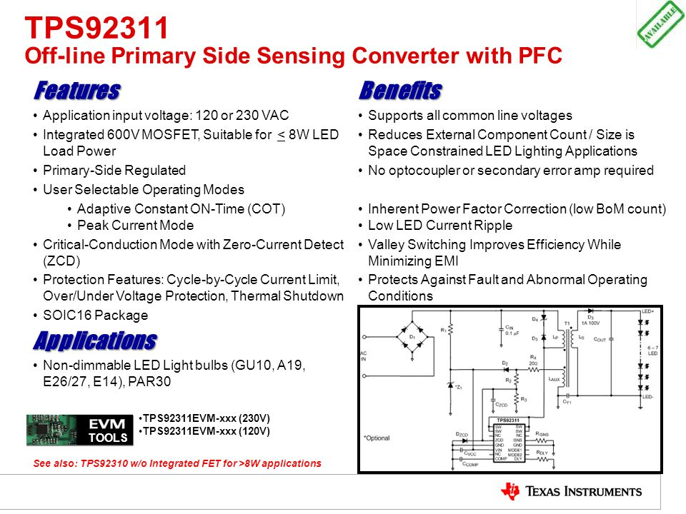 TPS92311 Off-line Primary Side Sensing Converter with PFC