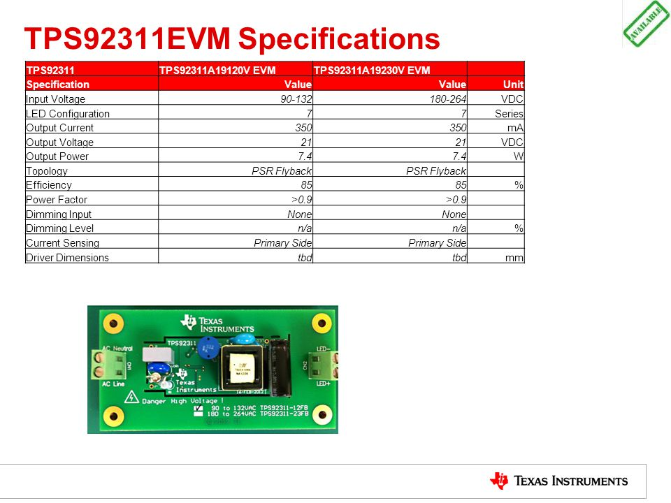 TPS92311EVM Specifications