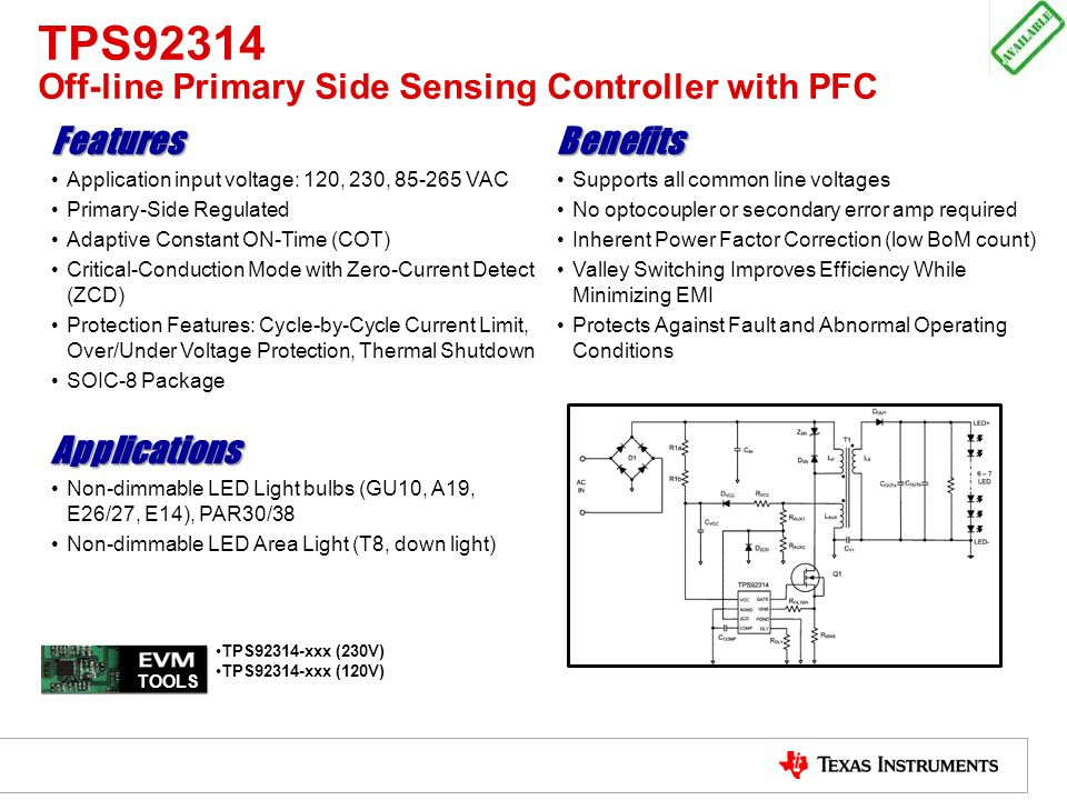 TPS92314 Off-line Primary Side Sensing Controller with PFC
