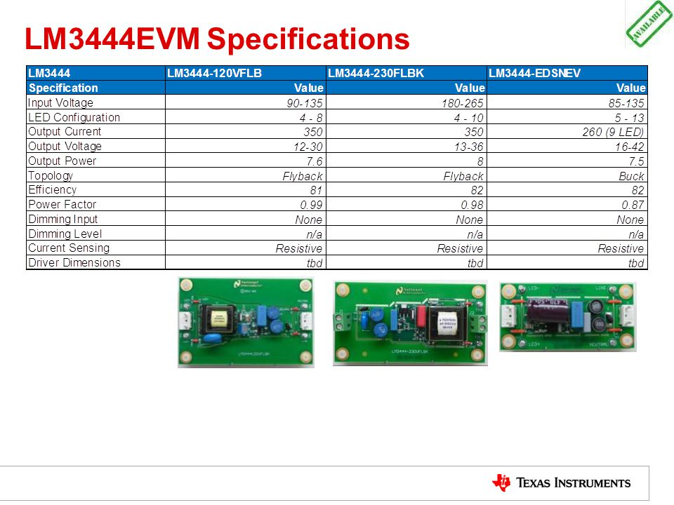 LM3444EVM Specifications