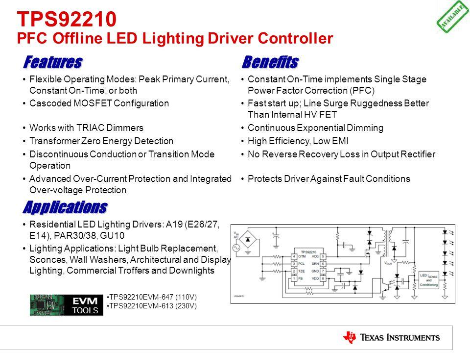 TPS92210 PFC Offline LED Lighting Driver Controller