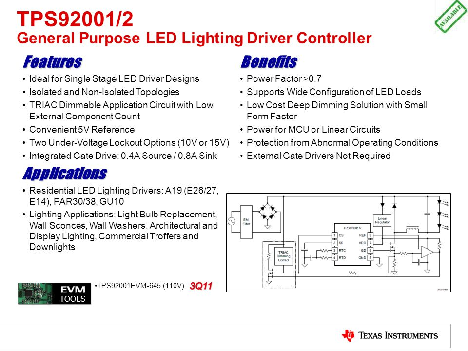 TPS92001/2 General Purpose LED Lighting Driver Controller