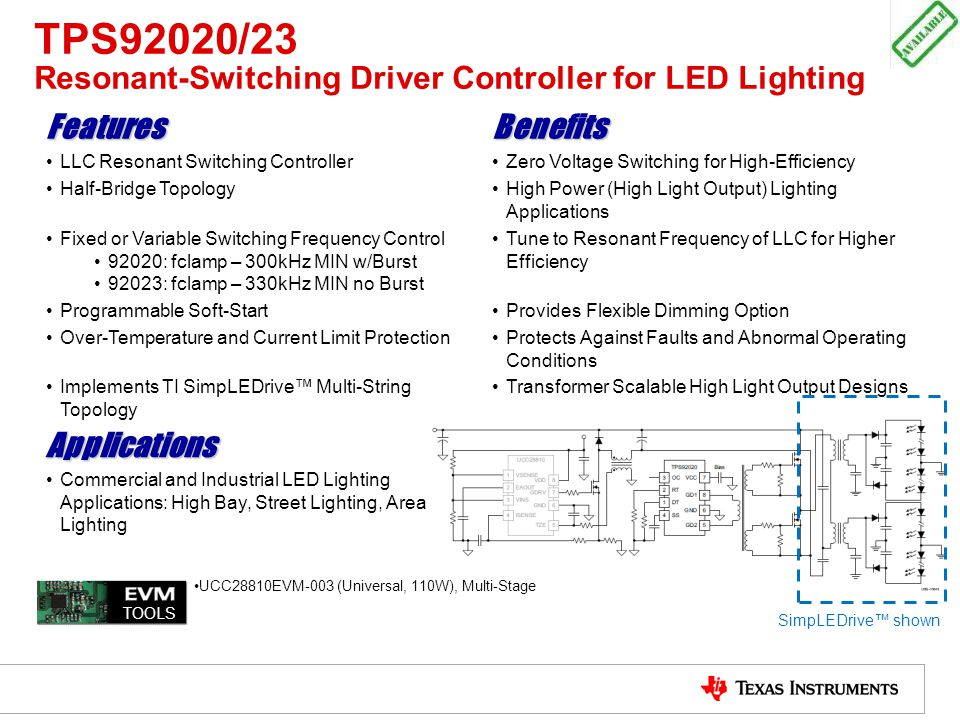 TPS92020/23 Resonant-Switching Driver Controller for LED Lighting