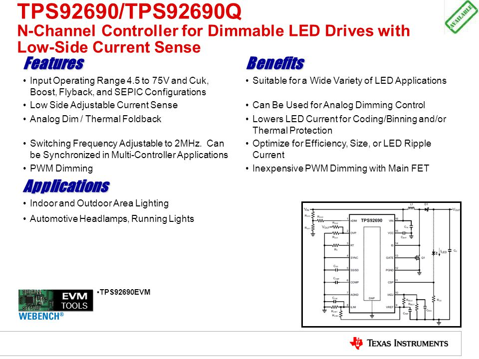 TPS92690/TPS92690Q N-Channel Controller for Dimmable LED Drives with Low-Side Current Sense