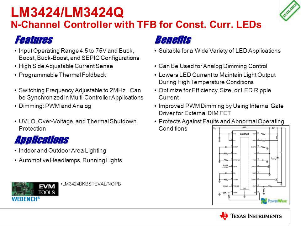 LM3424/LM3424Q N-Channel Controller with TFB for Const. Curr. LEDs