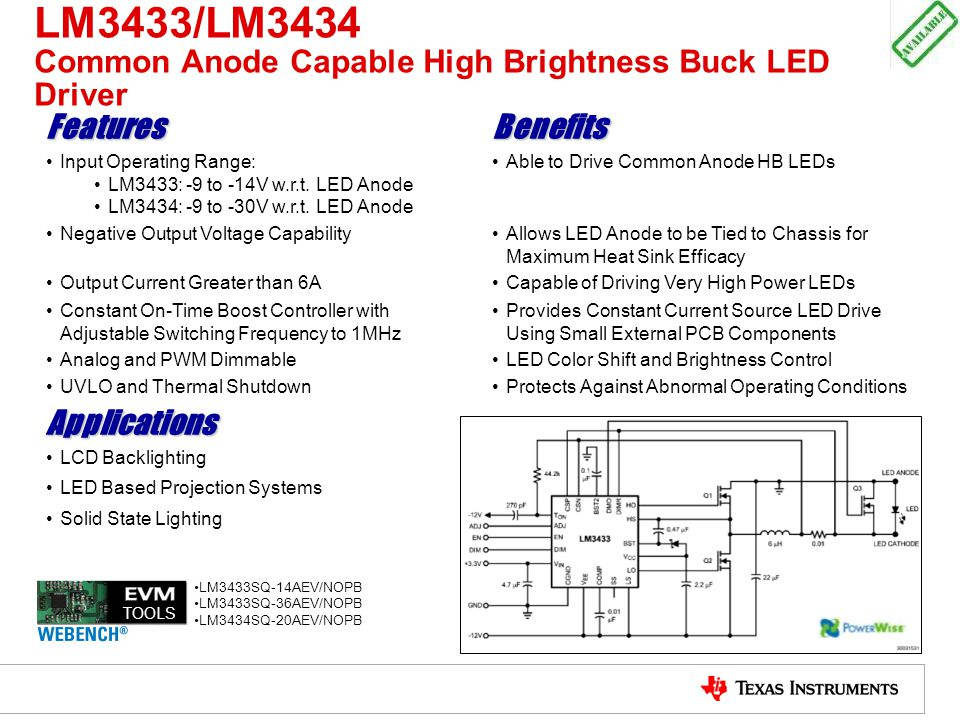 LM3433/LM3434 Common Anode Capable High Brightness Buck LED Driver