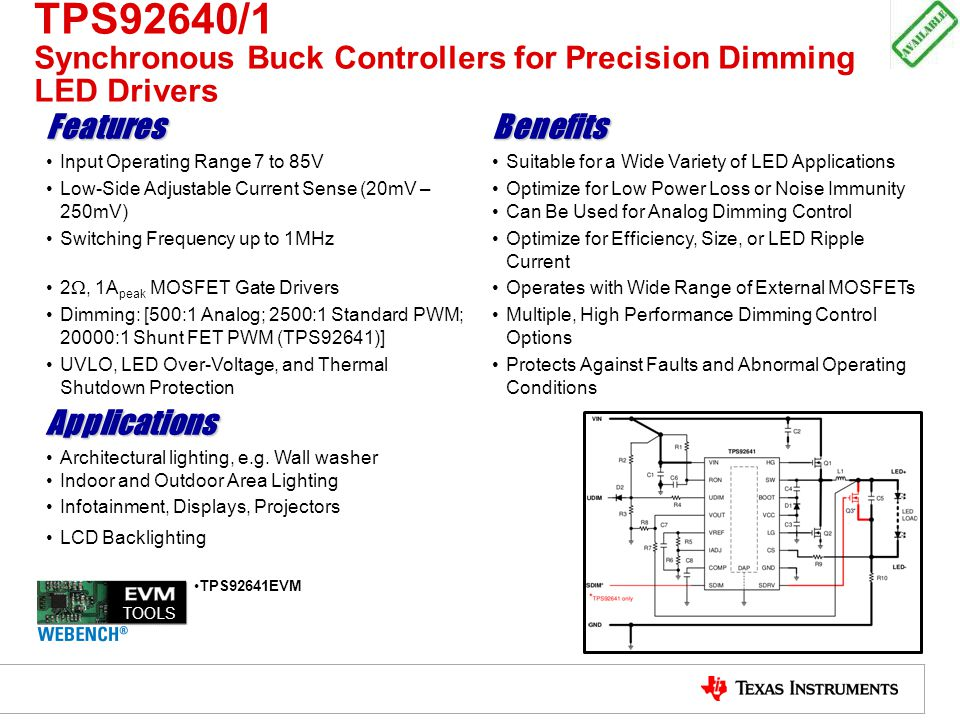 TPS92640/1 Synchronous Buck Controllers for Precision Dimming LED Drivers