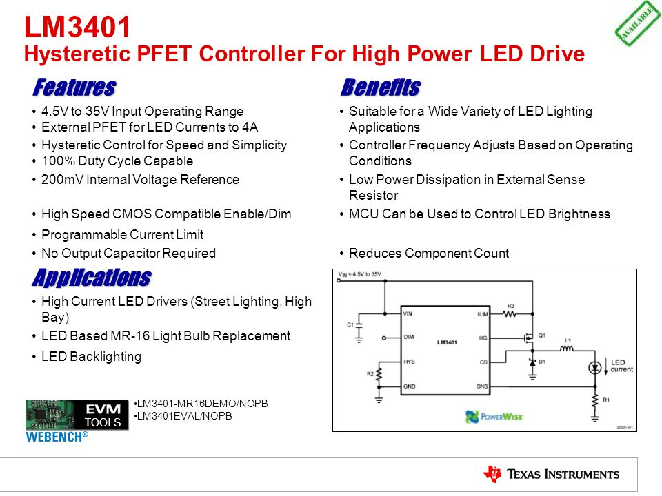 LM3401 Hysteretic PFET Controller For High Power LED Drive