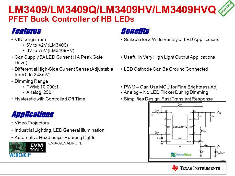 LM3409/LM3409Q/LM3409HV/LM3409HVQ PFET Buck Controller of HB LEDs