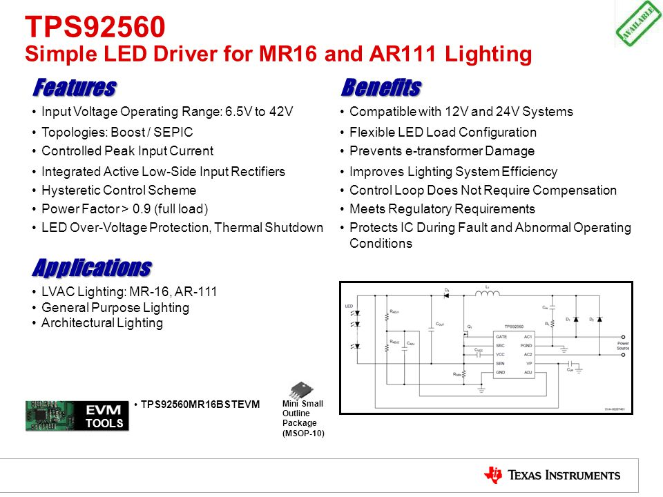 TPS92560 Simple LED Driver for MR16 and AR111 Lighting