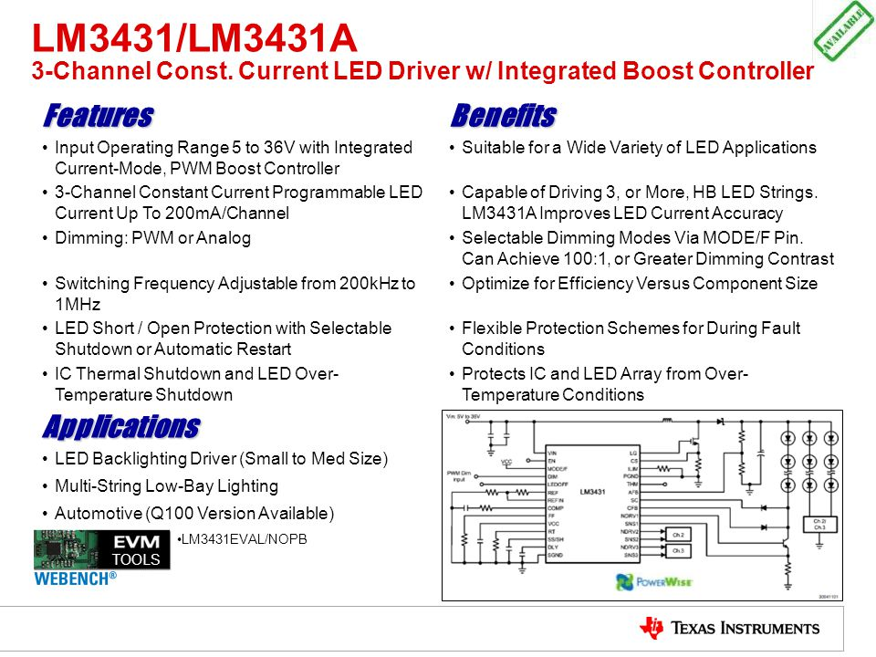 LM3431/LM3431A 3-Channel Const. Current LED Driver w/ Integrated Boost Controller