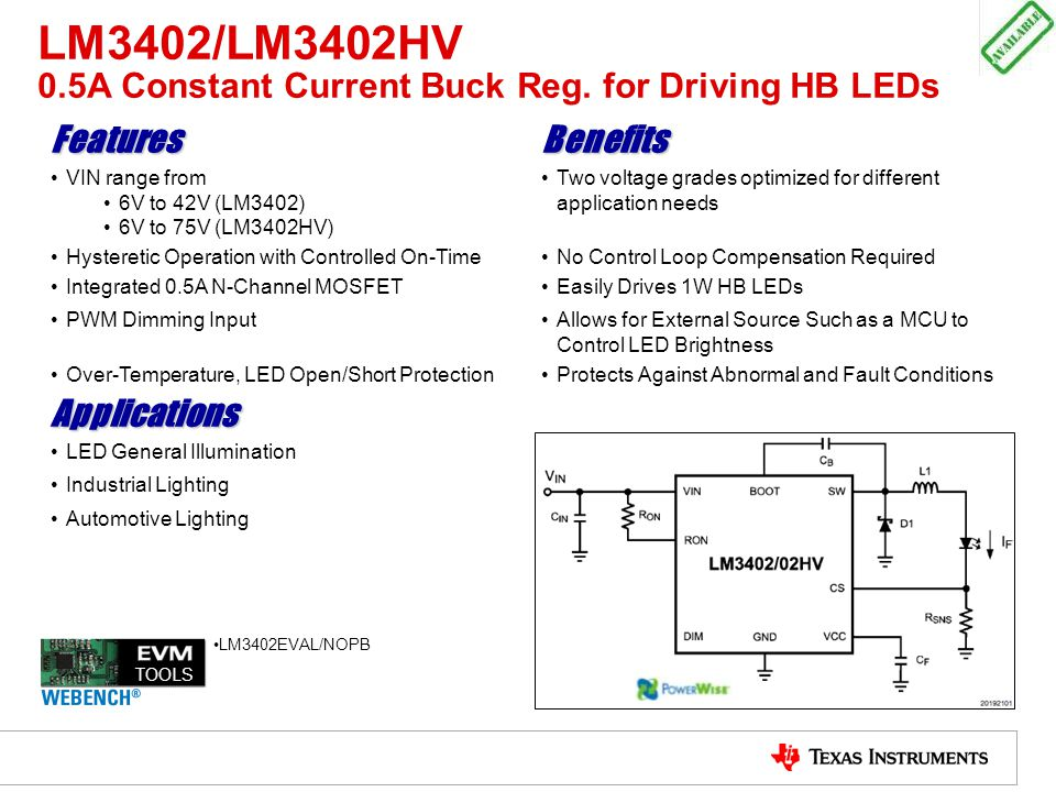 LM3402/LM3402HV 0.5A Constant Current Buck Reg. for Driving HB LEDs