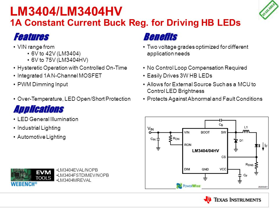 LM3404/LM3404HV 1A Constant Current Buck Reg. for Driving HB LEDs
