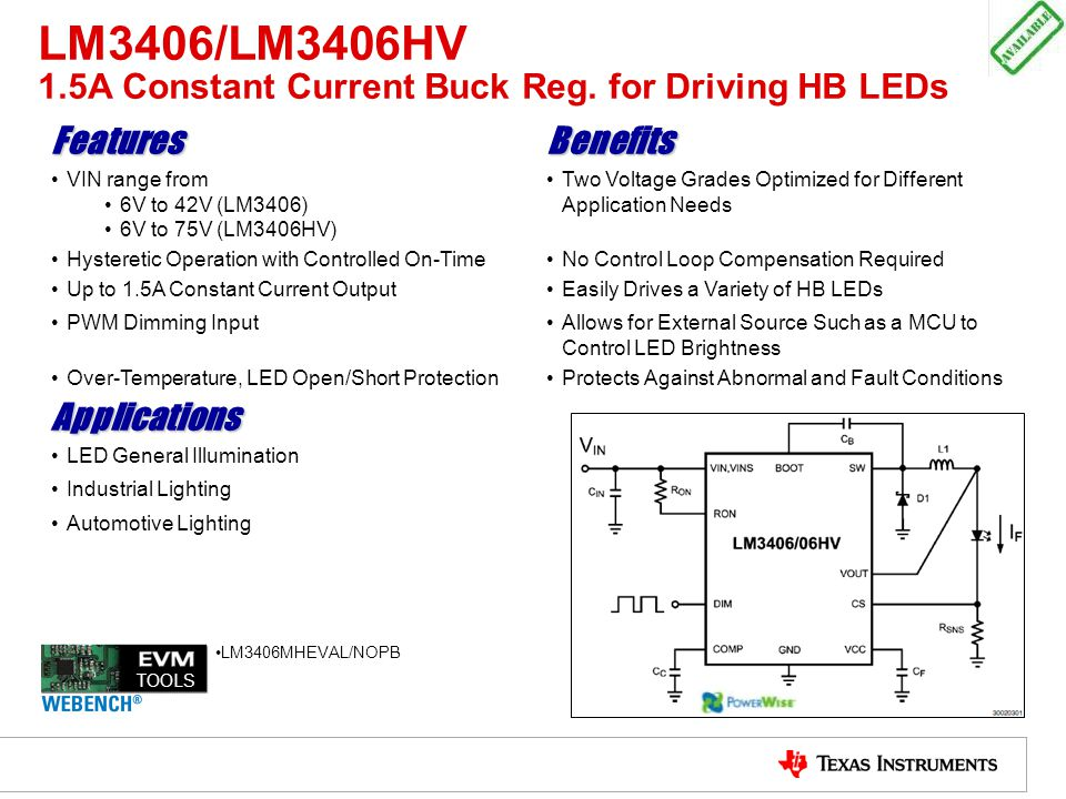 LM3406/LM3406HV 1.5A Constant Current Buck Reg. for Driving HB LEDs