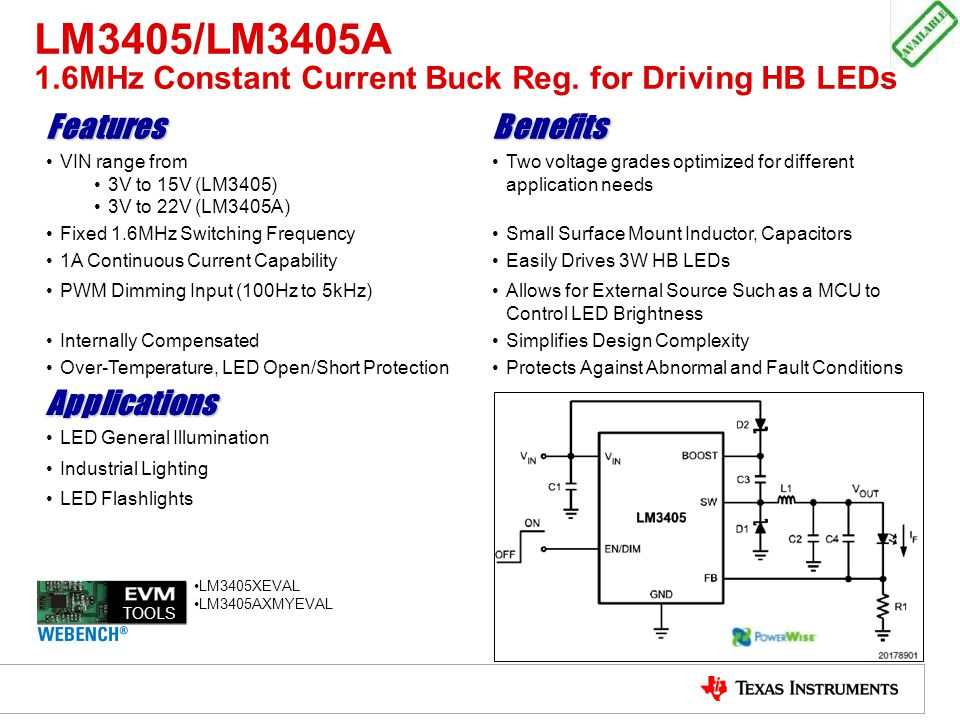 LM3405/LM3405A 1.6MHz Constant Current Buck Reg. for Driving HB LEDs