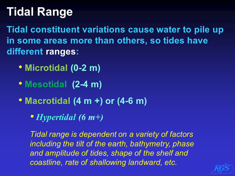 Tidal Range Tidal constituent variations cause water to pile up in some areas more than others, so tides have different ranges: