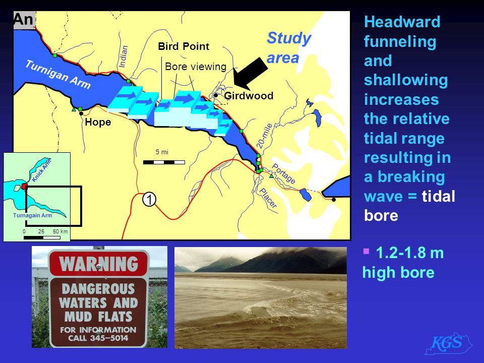 An Headward funneling and shallowing increases the relative tidal range resulting in a breaking wave = tidal bore.