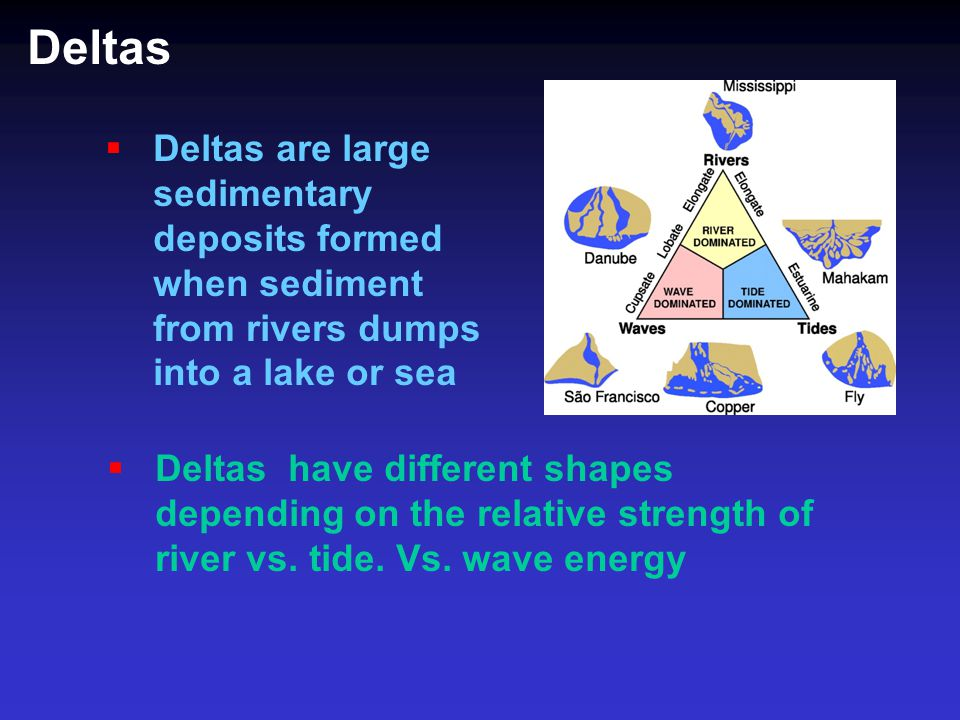 Deltas Deltas are large sedimentary deposits formed when sediment from rivers dumps into a lake or sea.