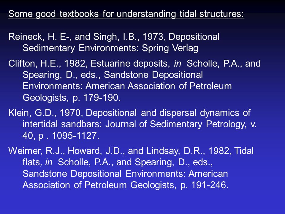 Some good textbooks for understanding tidal structures: