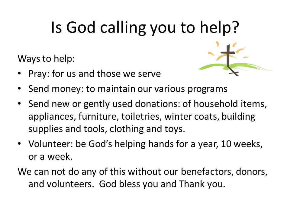 Is God calling you to help
