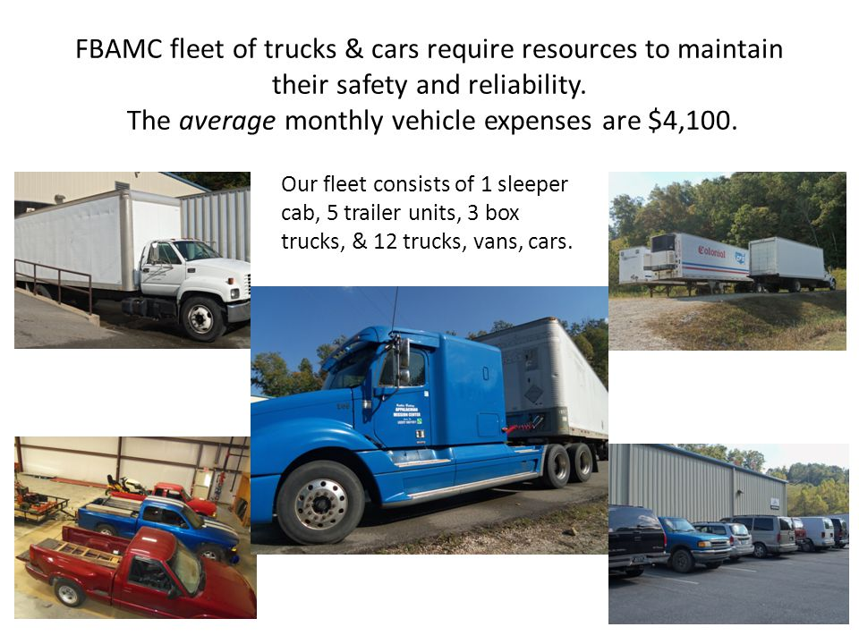 FBAMC fleet of trucks & cars require resources to maintain their safety and reliability. The average monthly vehicle expenses are $4,100.
