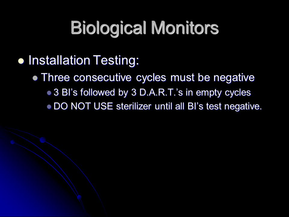 Biological Monitors Installation Testing: