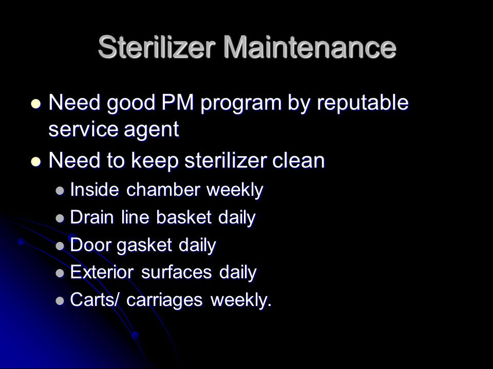 Sterilizer Maintenance