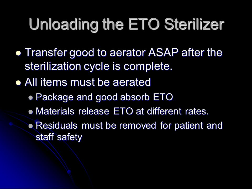 Unloading the ETO Sterilizer
