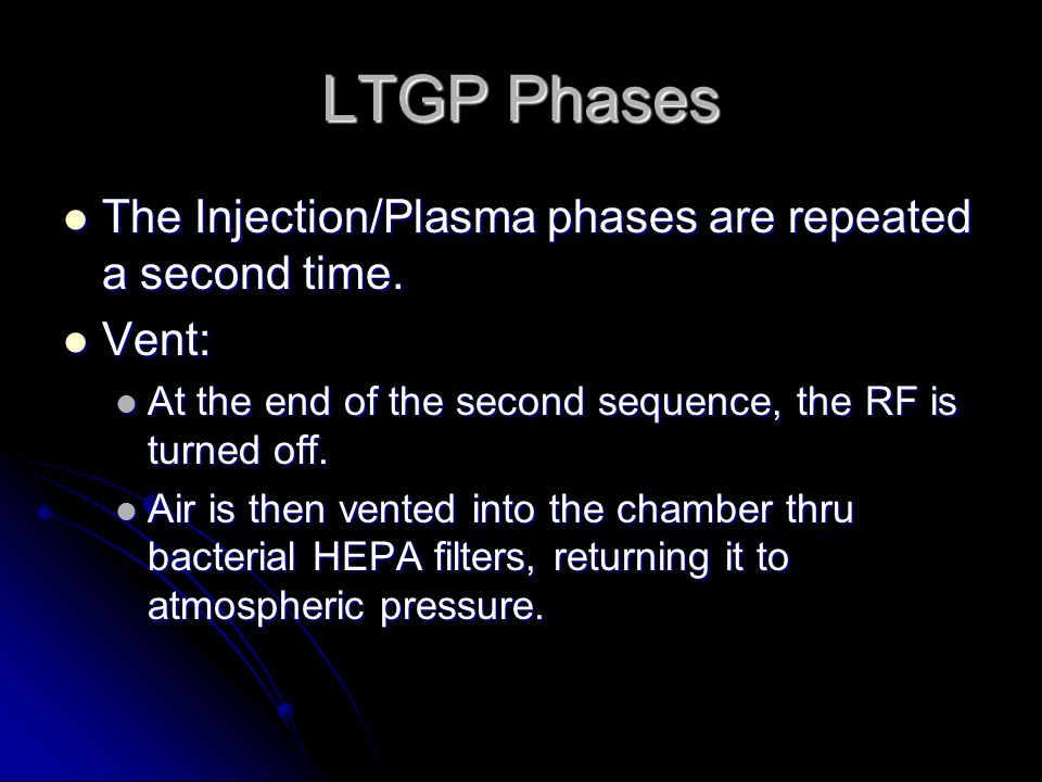 LTGP Phases The Injection/Plasma phases are repeated a second time.