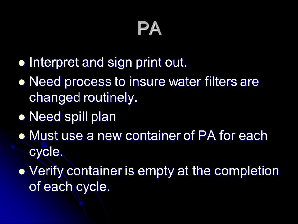 PA Interpret and sign print out.