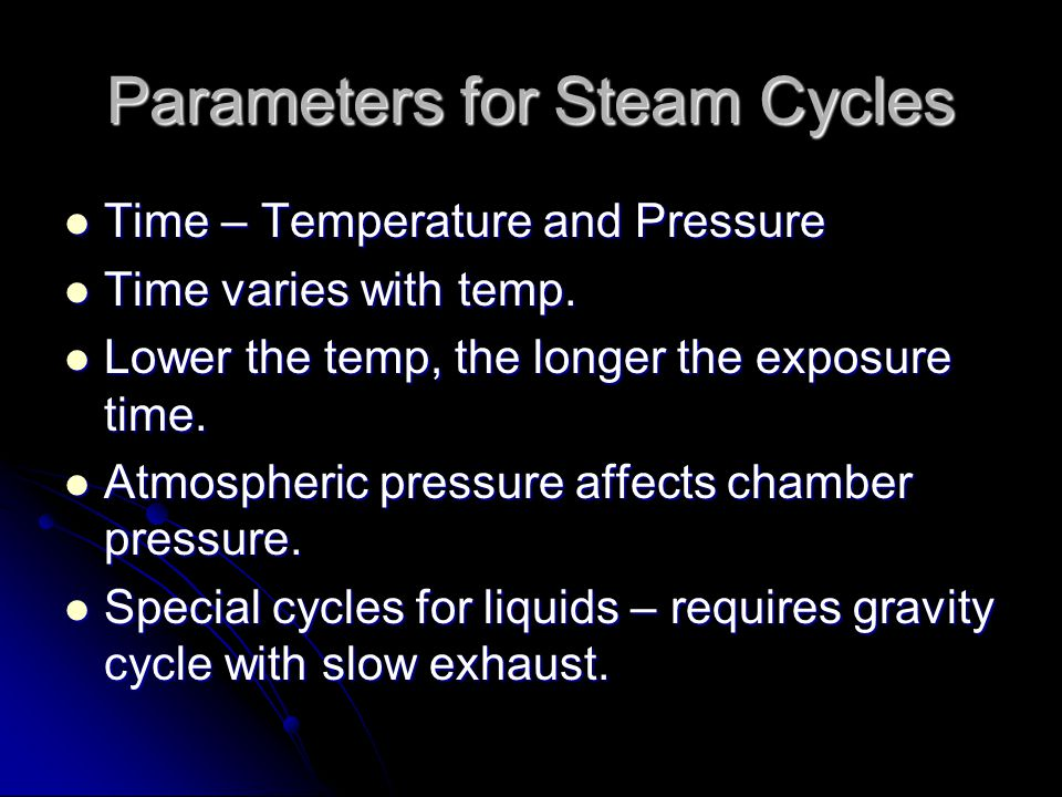Parameters for Steam Cycles