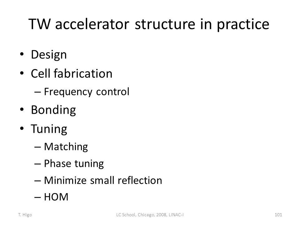 TW accelerator structure in practice