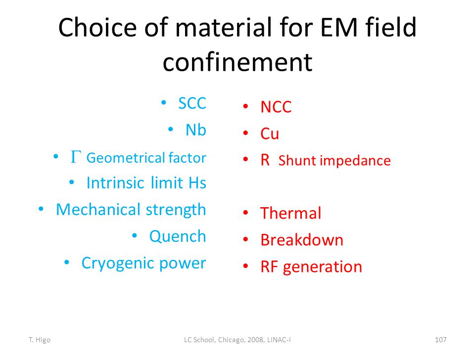 Choice of material for EM field confinement