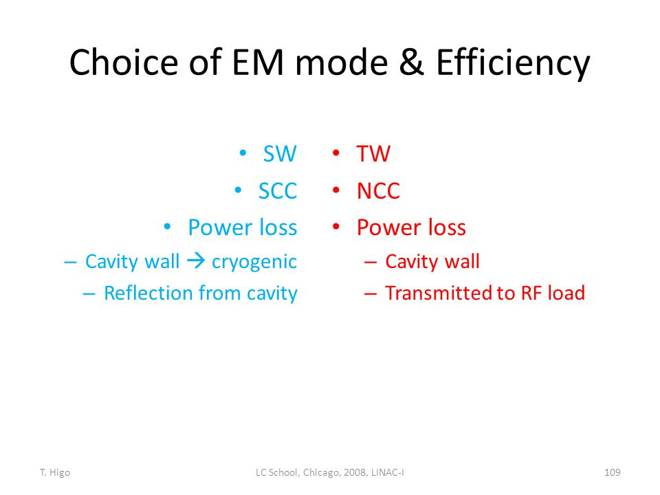 Choice of EM mode & Efficiency