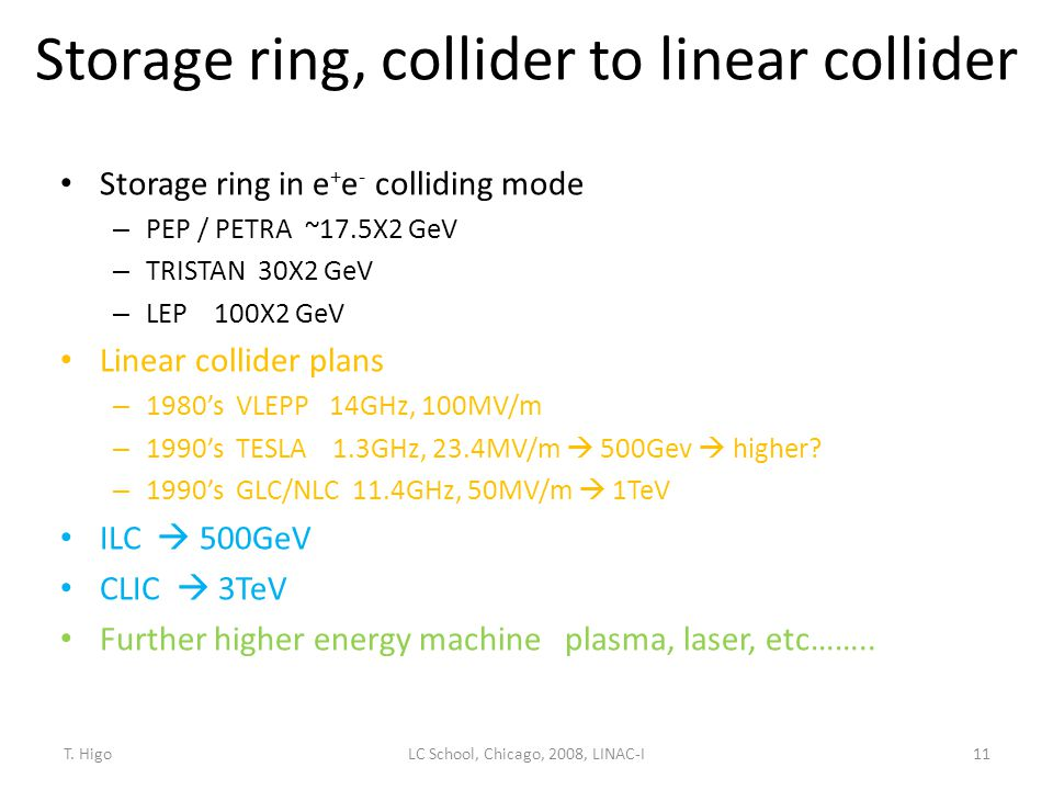 Storage ring, collider to linear collider
