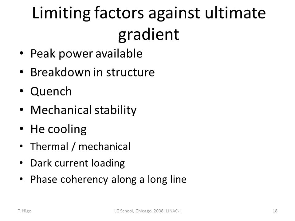 Limiting factors against ultimate gradient