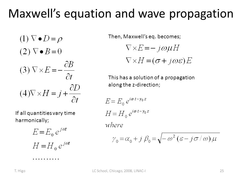 Maxwell's equation and wave propagation