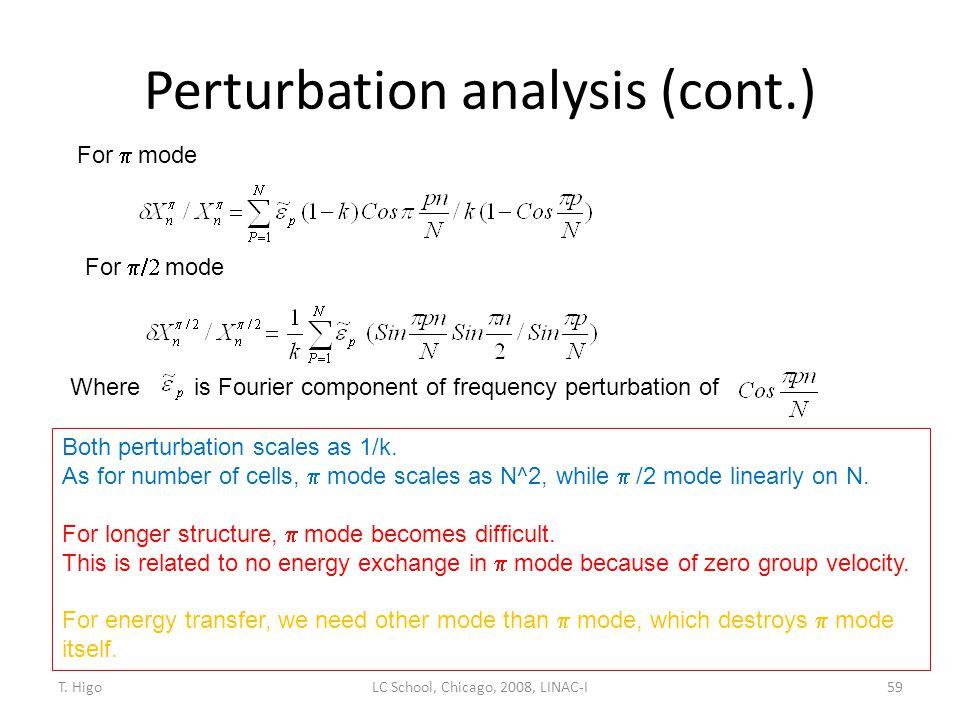Perturbation analysis (cont.)