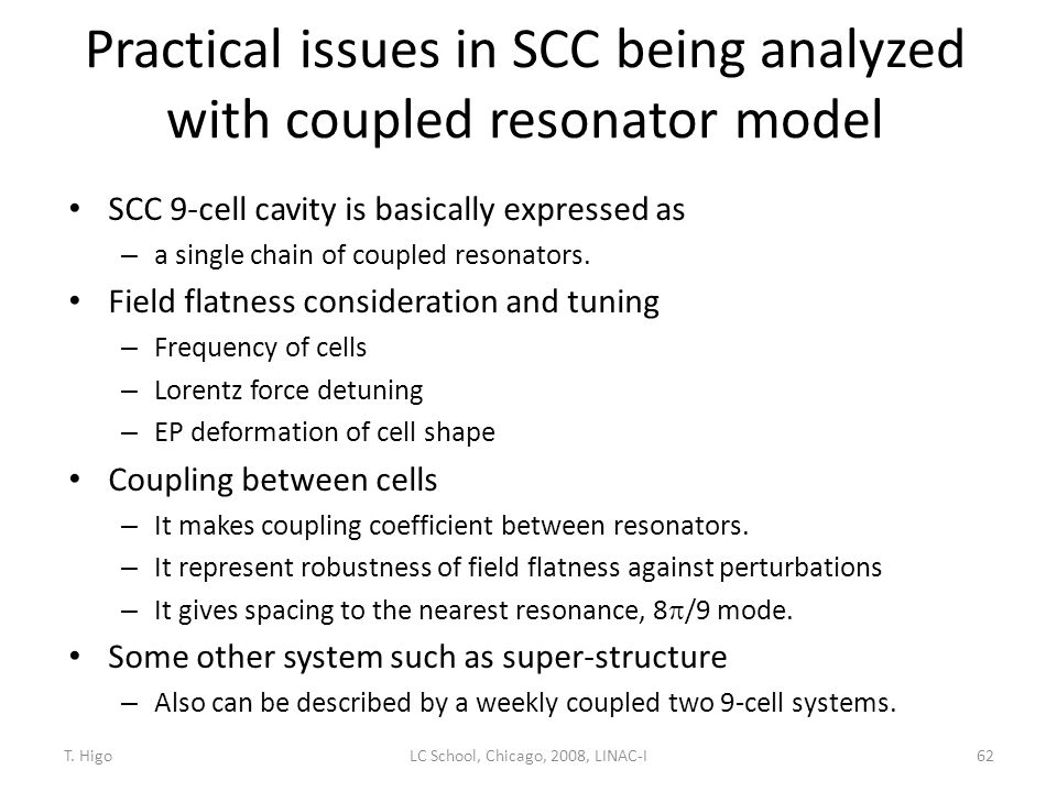Practical issues in SCC being analyzed with coupled resonator model