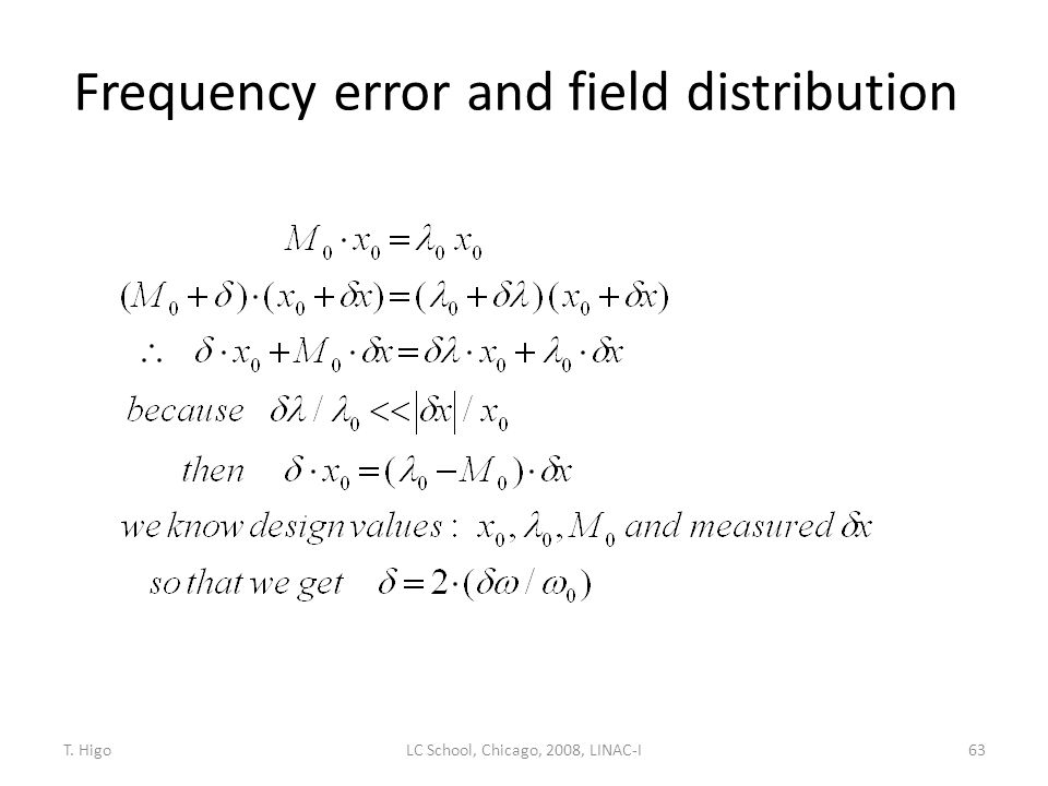 Frequency error and field distribution