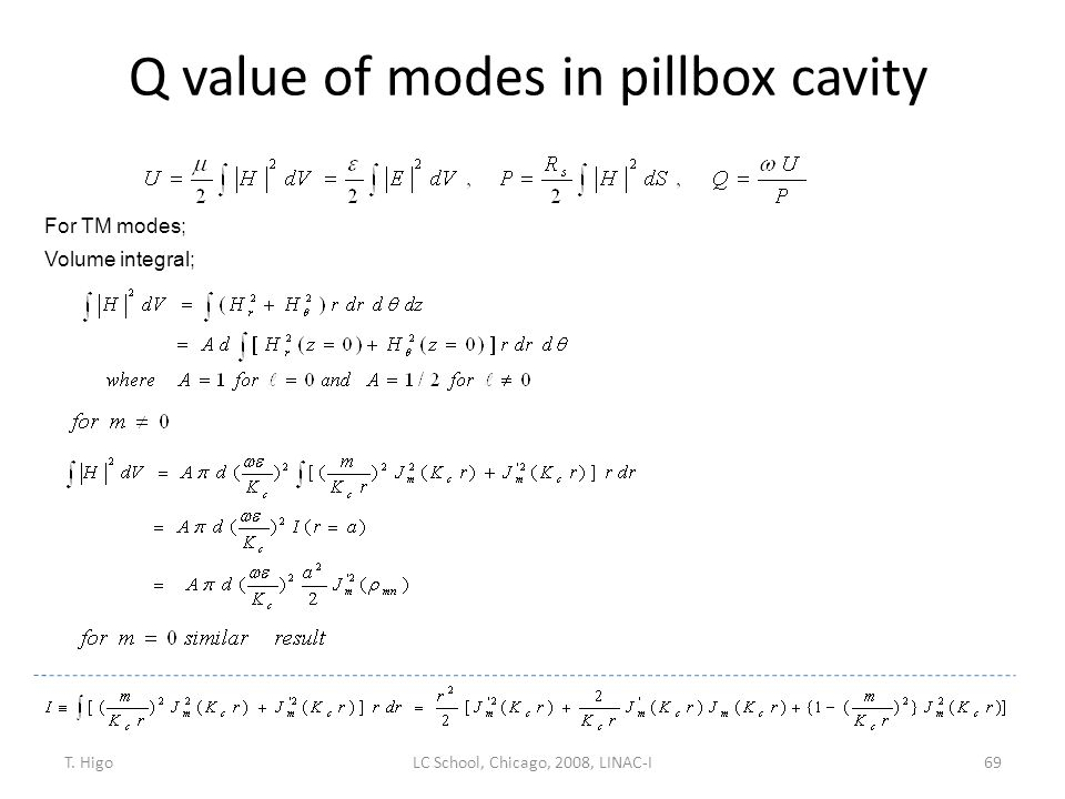 Q value of modes in pillbox cavity