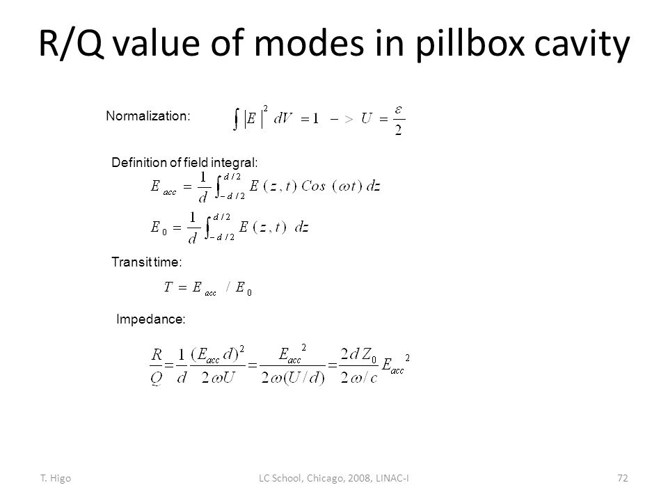 R/Q value of modes in pillbox cavity