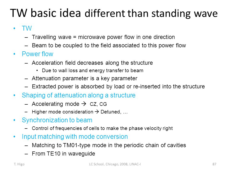 TW basic idea different than standing wave