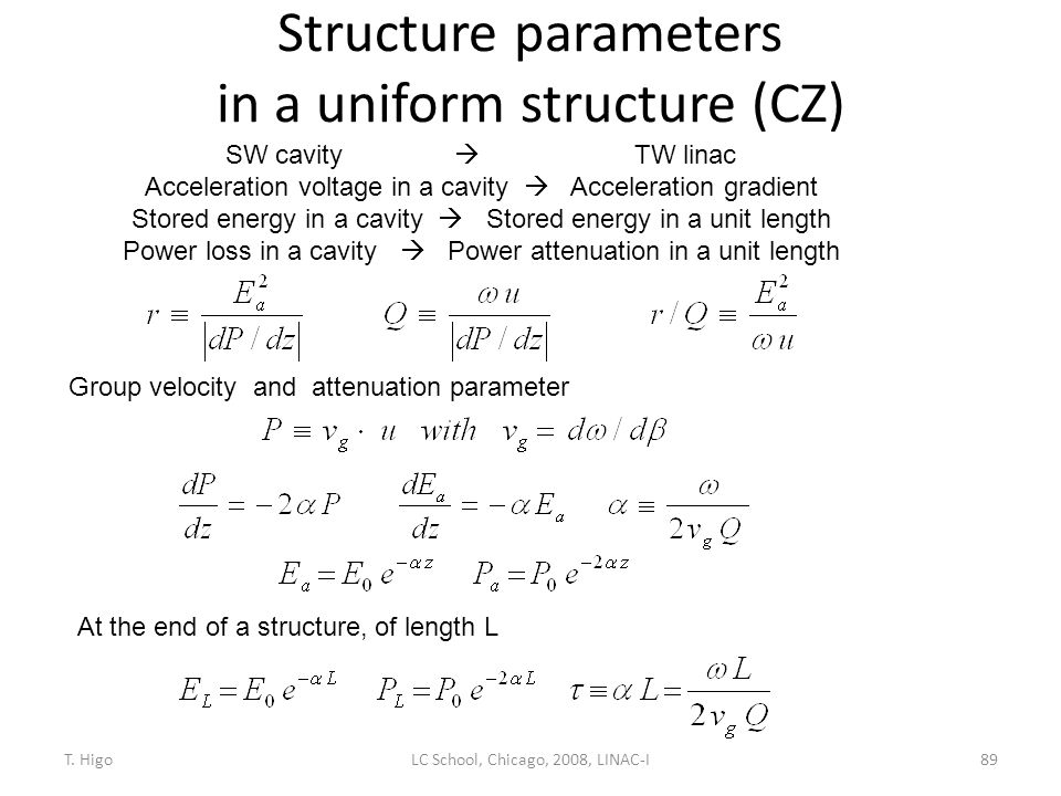 Structure parameters in a uniform structure (CZ)