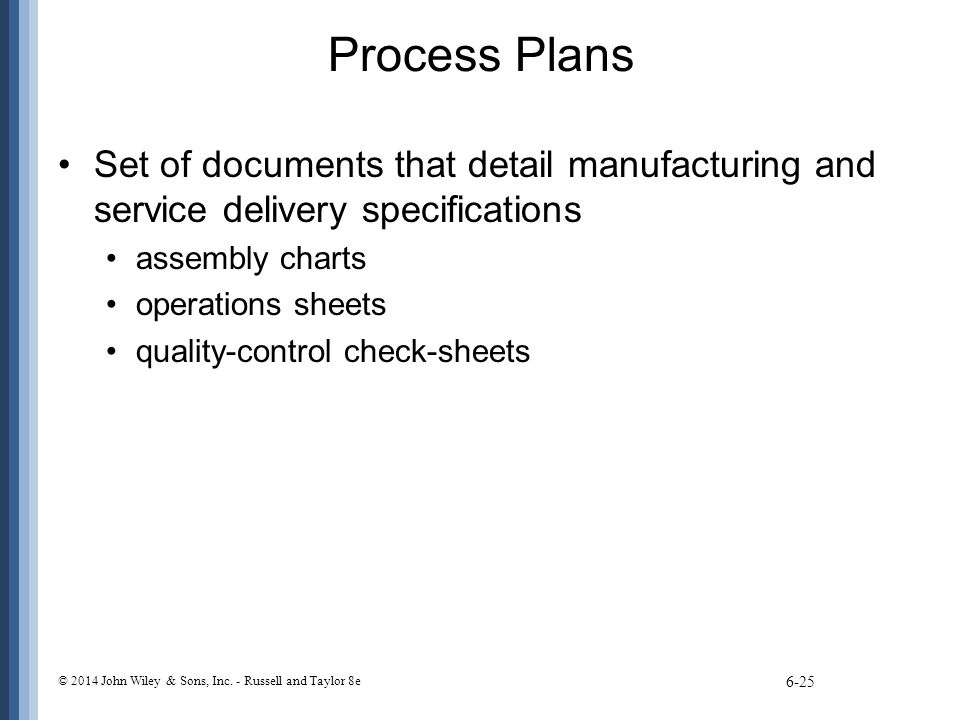 Process Plans Set of documents that detail manufacturing and service delivery specifications. assembly charts.