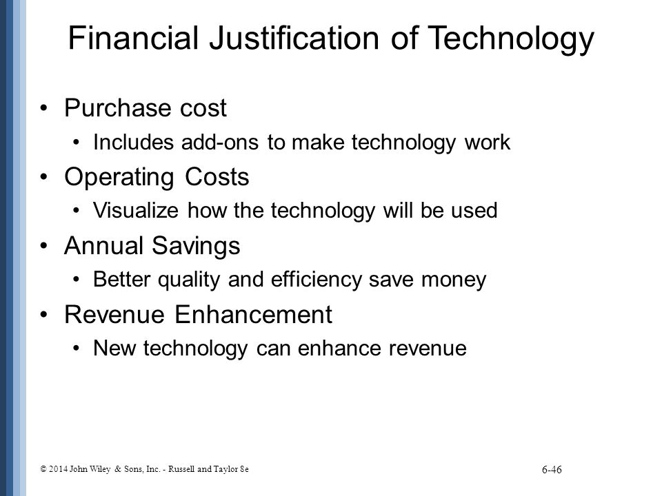 Financial Justification of Technology