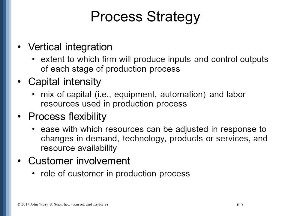 Process Strategy Vertical integration Capital intensity