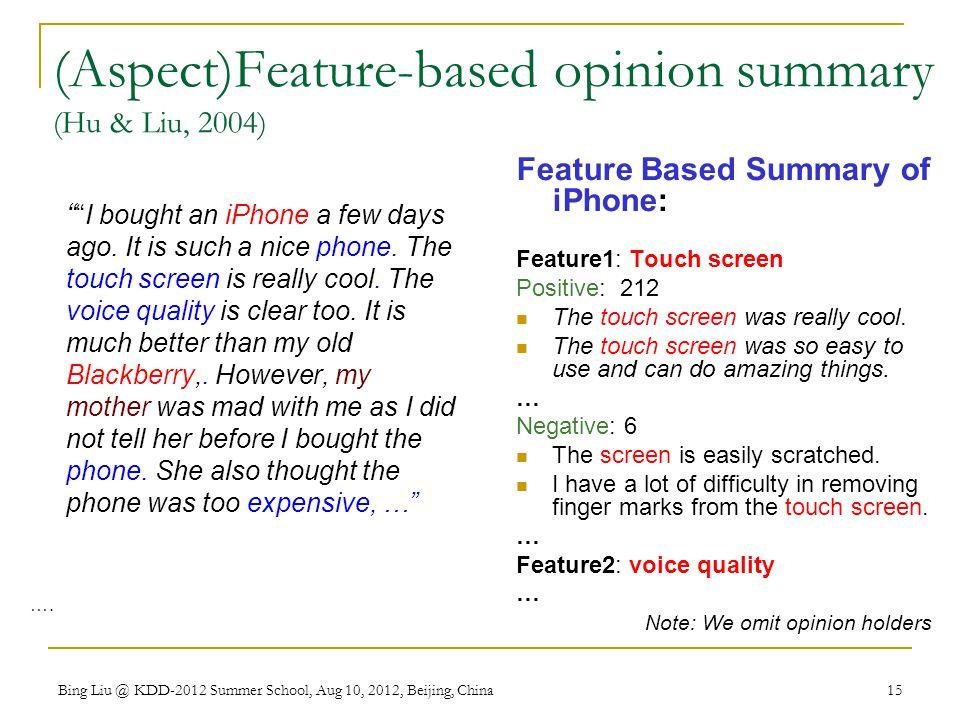 (Aspect)Feature-based opinion summary (Hu & Liu, 2004)